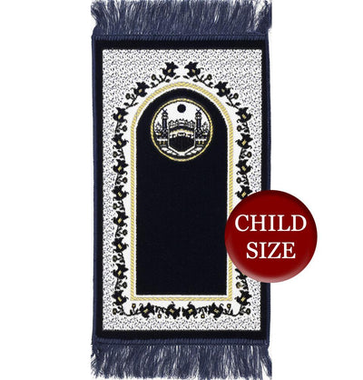 Modefa Prayer Rug Blue Child Velvet Islamic Prayer Rug - Dark Blue