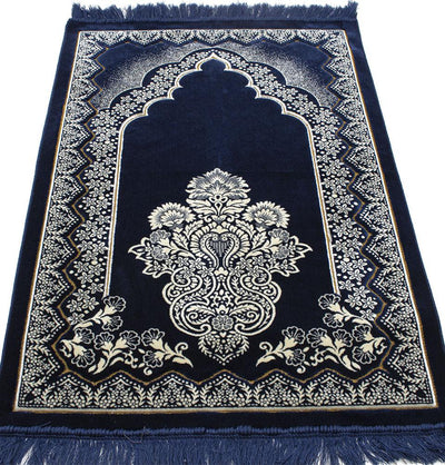 Modefa Prayer Rug Blue Double Plush Wide Islamic Prayer Rug - Floral Arch Blue