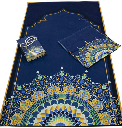 Modefa Prayer Rug Blue/Gold Luxury Islamic Quran & Prayer Rug 4 Piece Gift Set - Blue/Gold
