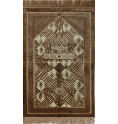 Modefa Prayer Rug Brown Lux Plush Regal Prayer Rug Brown