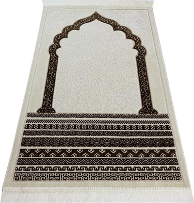 Modefa Prayer Rug Brown Plush Velvet Islamic Prayer Rug Royal Mihrab - Brown