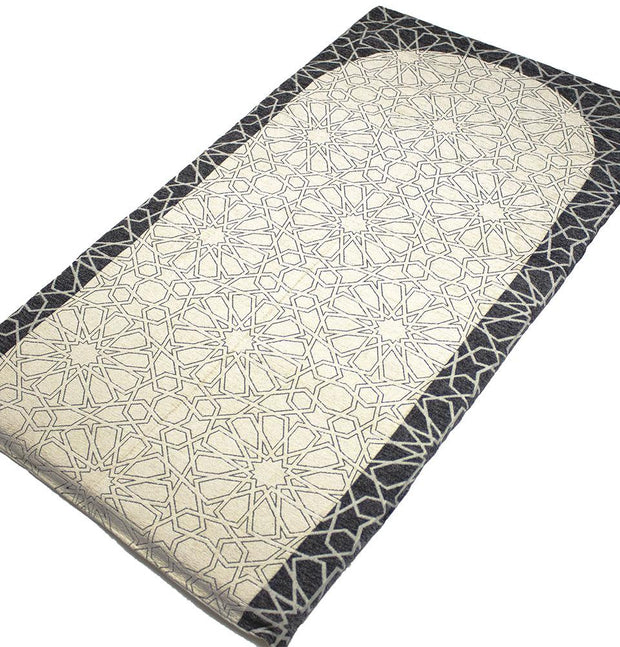 Modefa Prayer Rug Charcoal/Ivory Foldable Orthopedic Foam Islamic Prayer Rug with Carry Case Selcuk Star - Charcoal/Ivory