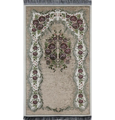 Chenille Embroidered Floral Rose Islamic Prayer Mat - Beige