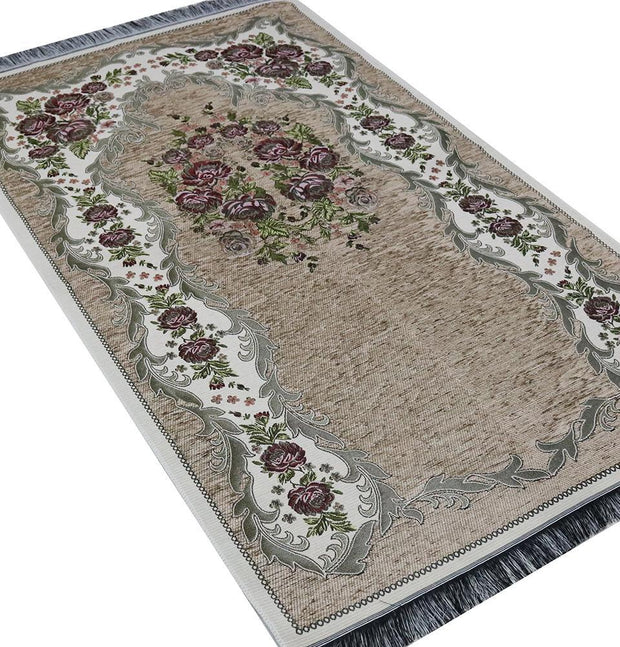 Modefa Prayer Rug Chenille Embroidered Floral Rose Islamic Prayer Mat - Beige