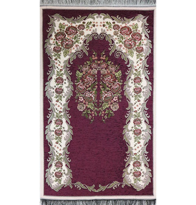 Chenille Embroidered Floral Rose Islamic Prayer Mat - Dark Purple
