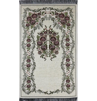 Chenille Embroidered Floral Rose Islamic Prayer Mat - Ivory