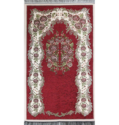 Modefa Prayer Rug Chenille Embroidered Floral Rose Islamic Prayer Mat - Red