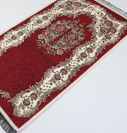 Chenille Embroidered Floral Rose Islamic Prayer Mat - Red