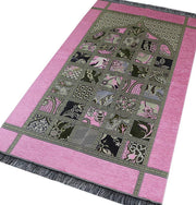 Modefa Prayer Rug Chenille Islamic Prayer Mat Quilt Pattern Pink
