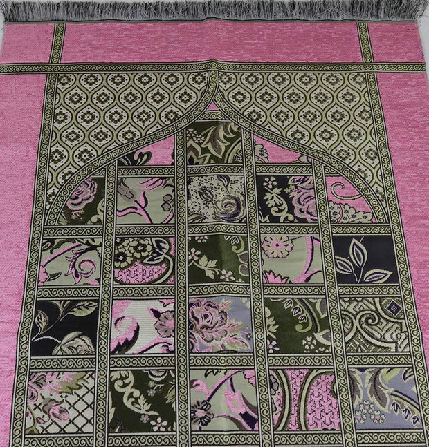 Chenille Islamic Prayer Mat Quilt Pattern Pink