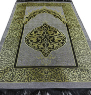 Chenille Ottoman Islamic Prayer Mat - Grey