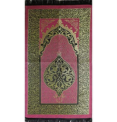 Chenille Ottoman Islamic Prayer Mat - Pink