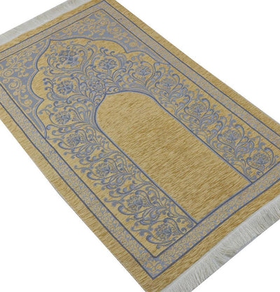 Chenille Simple Vine Swirl Islamic Prayer Mat - Beige/Blue