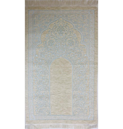 Chenille Simple Vine Swirl Islamic Prayer Mat - Creme/Blue