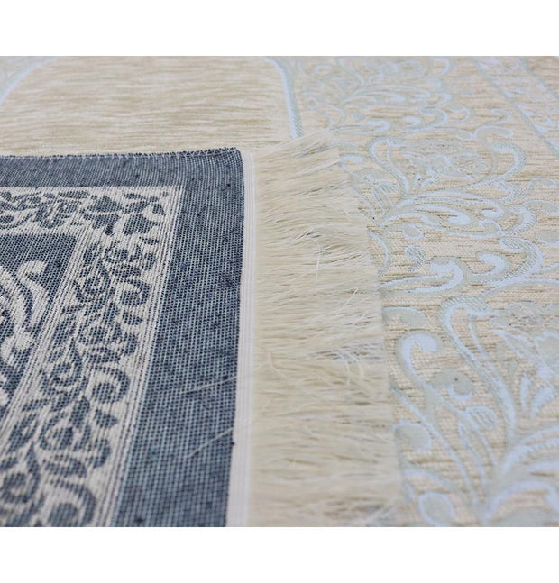 Modefa Prayer Rug Chenille Simple Vine Swirl Islamic Prayer Mat - Creme/Blue