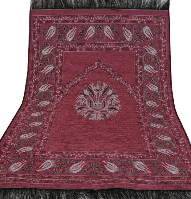 Chenille Tulip Islamic Prayer Mat - Pink