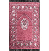 Modefa Prayer Rug Chenille Tulip Islamic Prayer Mat - Pink