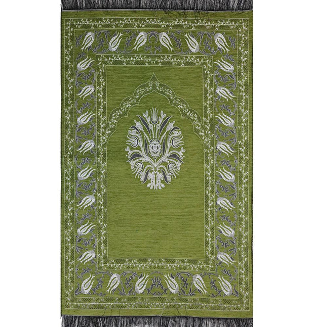 Modefa Prayer Rug Chenille Tulip Prayer Mat - Light Green