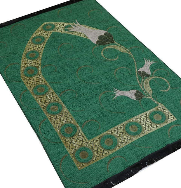Chenille Woven Islamic Prayer Mat - Turkish Tulip Green