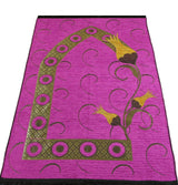 Modefa Prayer Rug Chenille Woven Islamic Prayer Mat - Turkish Tulip Pink/Yellow