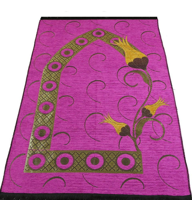 Chenille Woven Islamic Prayer Mat - Turkish Tulip Pink/Yellow