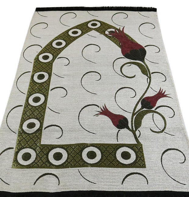Chenille Woven Islamic Prayer Mat - Turkish Tulip White/Red
