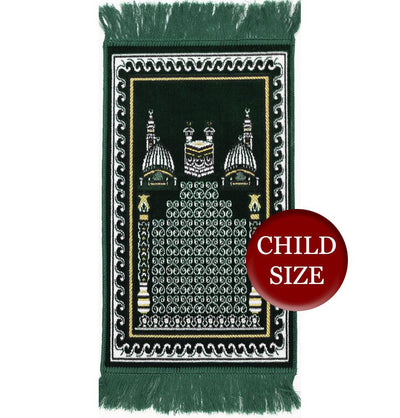 Modefa Prayer Rug Child Velvet Islamic Prayer Rug - Green with Kaba