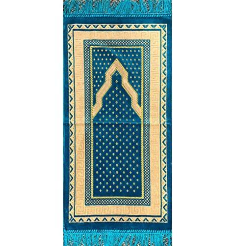 Modefa Prayer Rug Child Velvet Simple Rug Turquoise