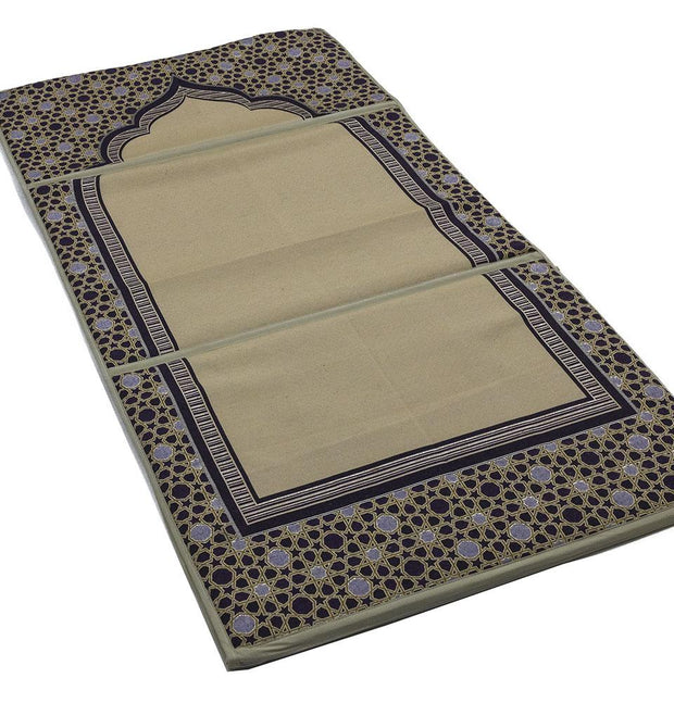 Modefa Prayer Rug Convertible Travel Prayer Mat with Backrest - Selcuk Beige/Purple