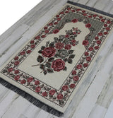 Modefa Prayer Rug Creme #2 Chenille Embroidered Floral Rose Islamic Prayer Mat - Creme #2
