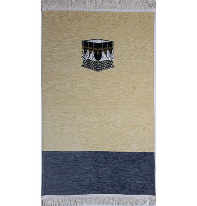 Modefa Prayer Rug Creme/Blue Luxury Woven Chenille Islamic Prayer Rug - Kaba Creme / Blue