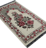 Modefa Prayer Rug Creme Chenille Embroidered Floral Rose Islamic Prayer Mat - Creme #2