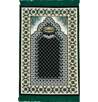 Modefa Prayer Rug Dark Green Velvet Geometric Lattice Kaba Islamic Prayer Rug - Dark Green
