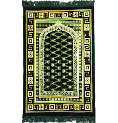 Modefa Prayer Rug Dark Green Velvet Islamic Prayer Rug Lattice - Dark Green