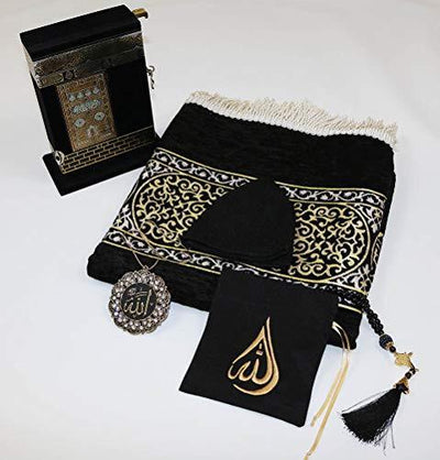 Modefa Prayer Rug Deluxe Gift Set Luxury Meccan Woven Chenille Islamic Prayer Rug Black - Deluxe Gift Set with Quran