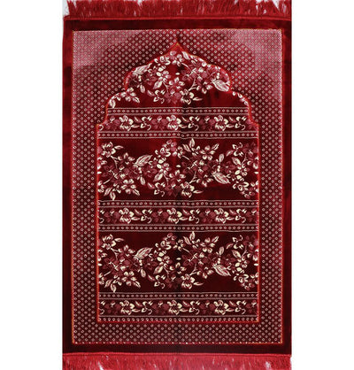 Modefa Prayer Rug Double Plush Wide Extra Large Islamic Prayer Rug - Red Floral