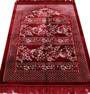 Double Plush Wide Extra Large Islamic Prayer Rug - Red Floral