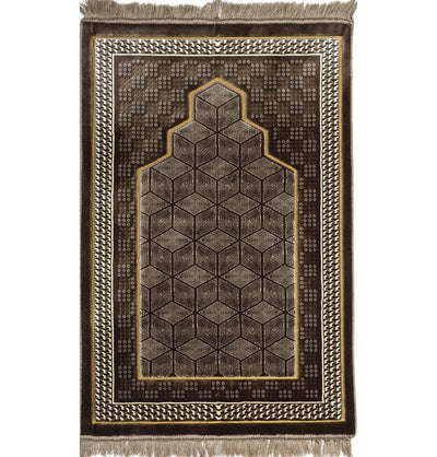 Modefa Prayer Rug Double Plush Wide Extra Large Prayer Rug - Geometric Noor Mink Brown