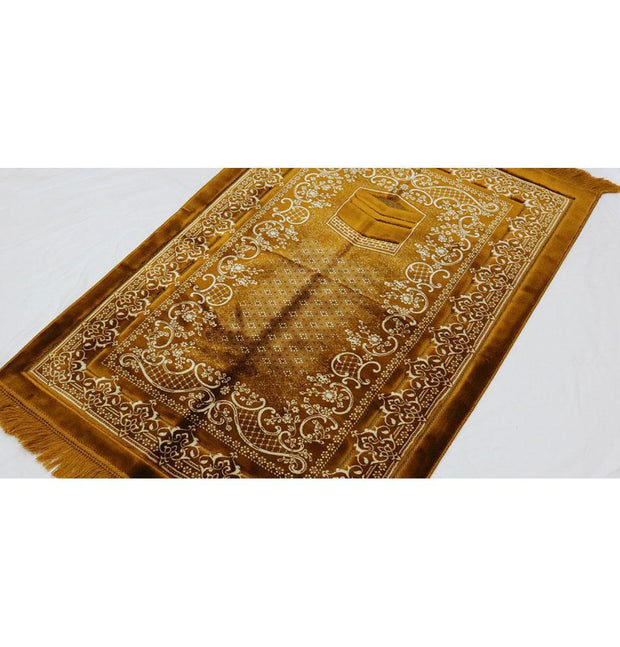 Modefa Prayer Rug Double Plush Wide Extra Large Prayer Rug - Gold