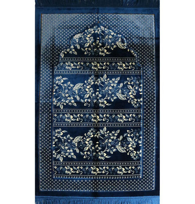 Double Plush Wide Islamic Prayer Rug - Blue Floral