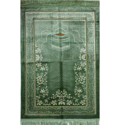 Double Plush Wide Islamic Prayer Rug - Kaba Light Green