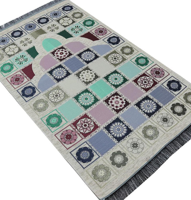 Modefa Prayer Rug Embroidered Chenille Floral Mat Beige / Multicolored