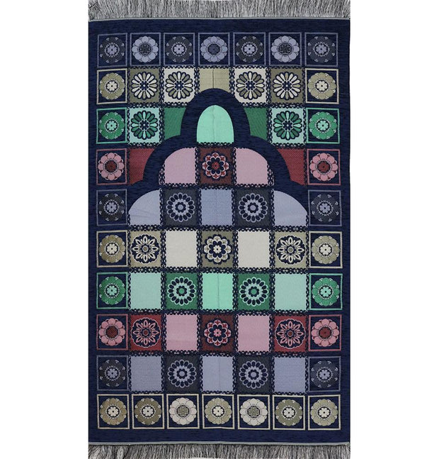 Modefa Prayer Rug Embroidered Chenille Floral Mat Navy Blue / Multicolored