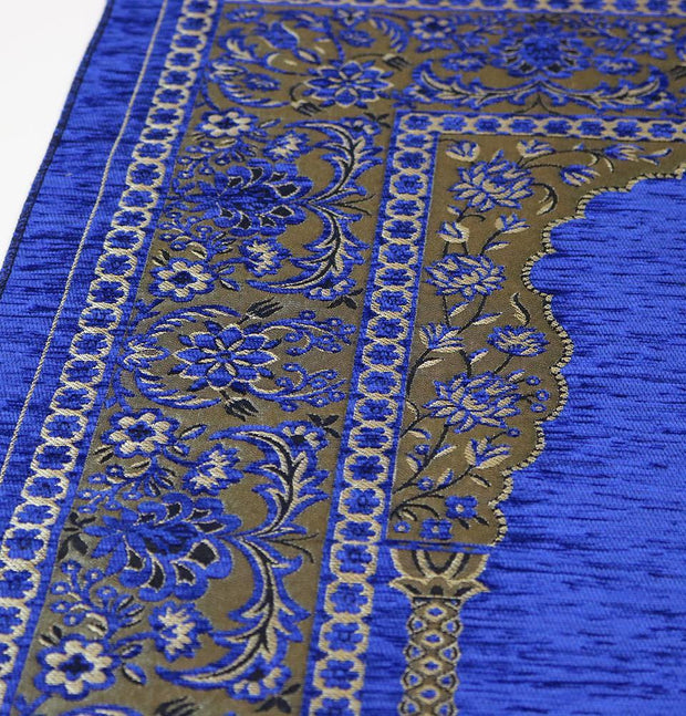 Embroidered Islamic Prayer Mat - Blue