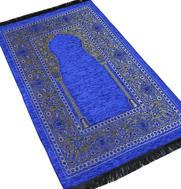 Embroidered Islamic Prayer Mat Gift Box Set with Prayer Beads - Blue