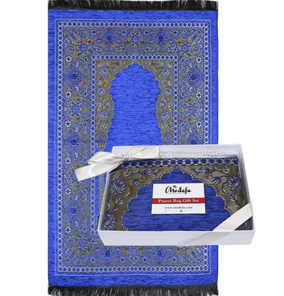 Modefa Prayer Rug Embroidered Islamic Prayer Mat Gift Box Set with Prayer Beads - Blue