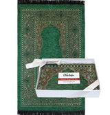 Modefa Prayer Rug Embroidered Islamic Prayer Mat Gift Box Set with Prayer Beads - Green