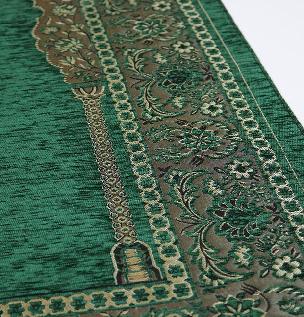 Embroidered Islamic Prayer Mat Gift Box Set with Prayer Beads - Green