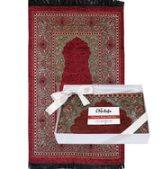 Embroidered Islamic Prayer Mat Gift Box Set with Prayer Beads - Red