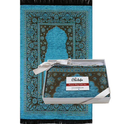 Modefa Prayer Rug Embroidered Islamic Prayer Mat Gift Box Set with Prayer Beads - Turquoise